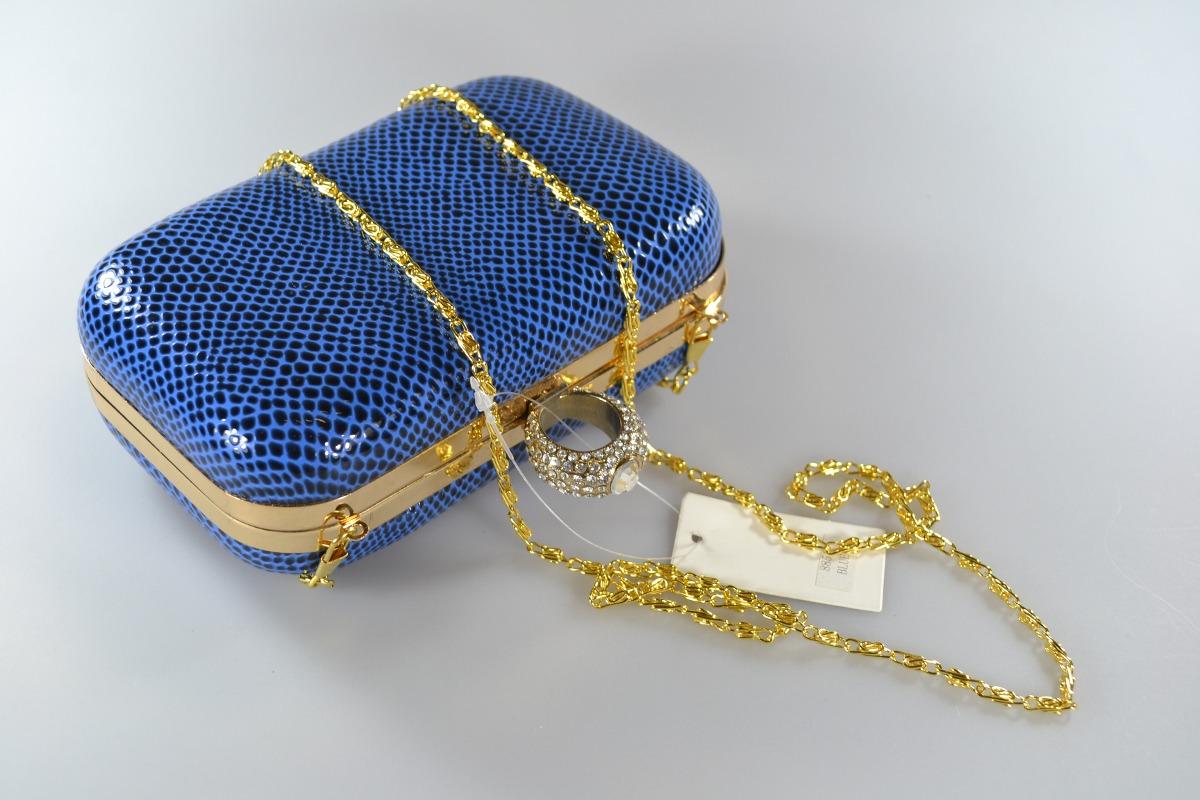 2fff4bd7b Bolsa Clutch Feminina Festa Couro Sintético Strass Azul - R$ 69,90 ...