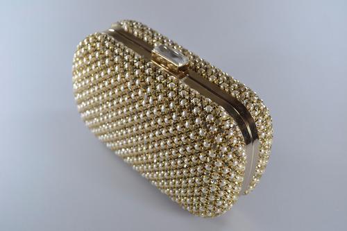 Bolsa De Strass Dourada : Bolsa clutch festa carteira p?rolas strass dourada
