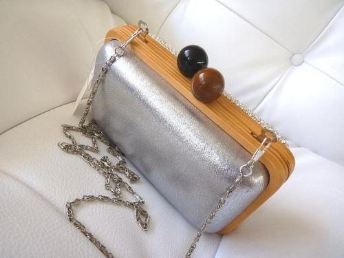 bolsa clutch festa - linda! dois lados - com alça de metal