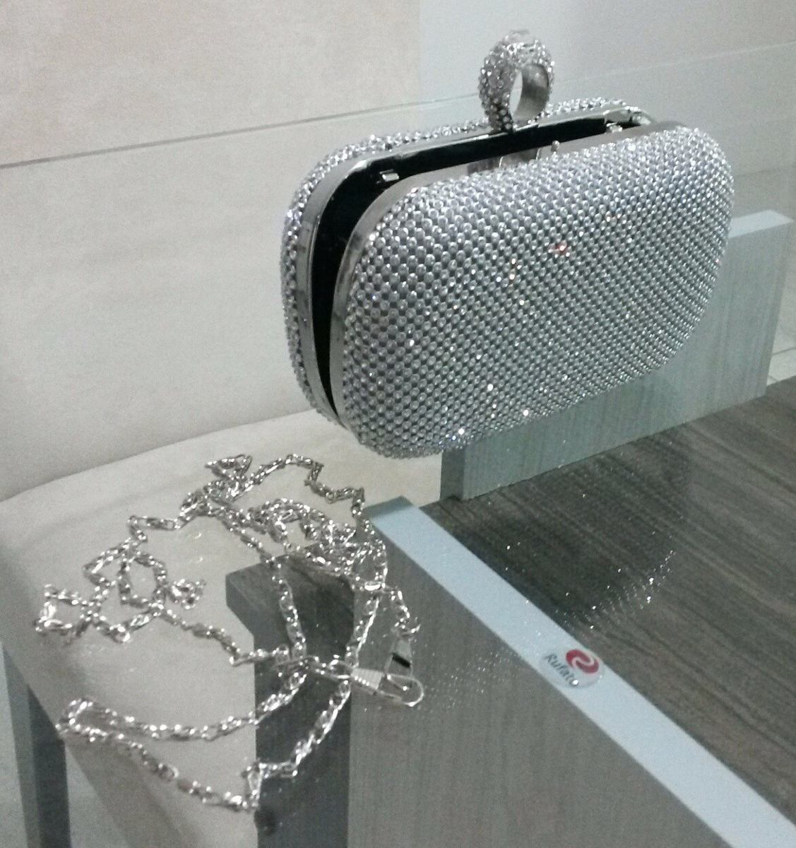 fba402b19 bolsa clutch festa prata strass cristal carteira estilo anel. Carregando  zoom.