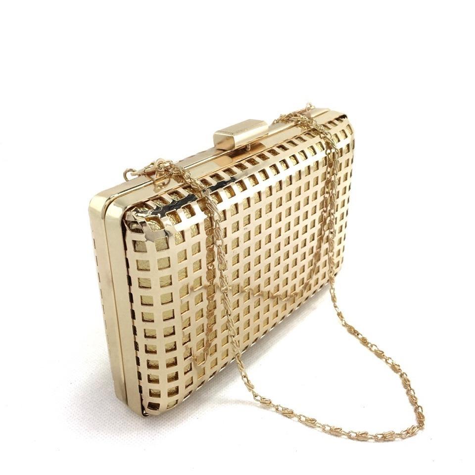 bolsa clutch metal dourada quadrada festa tendência alça. Carregando zoom. 39f6fe1165b