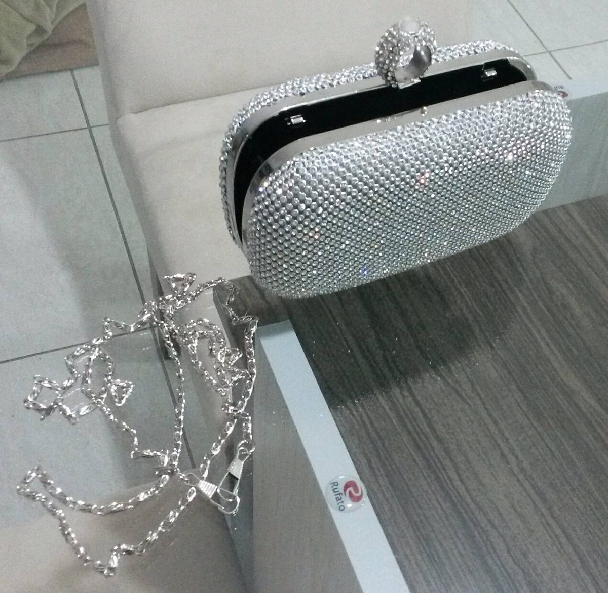 Bolsa De Festas Prata : Bolsa clutch prata strass festa casamento carteira