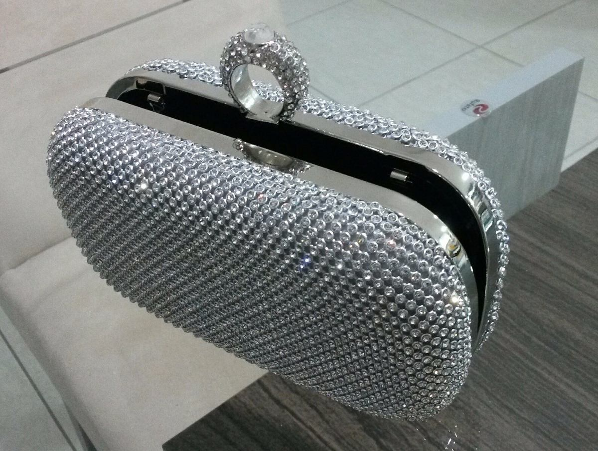 Bolsa festa prata : Bolsa clutch prata strass festa casamento carteira