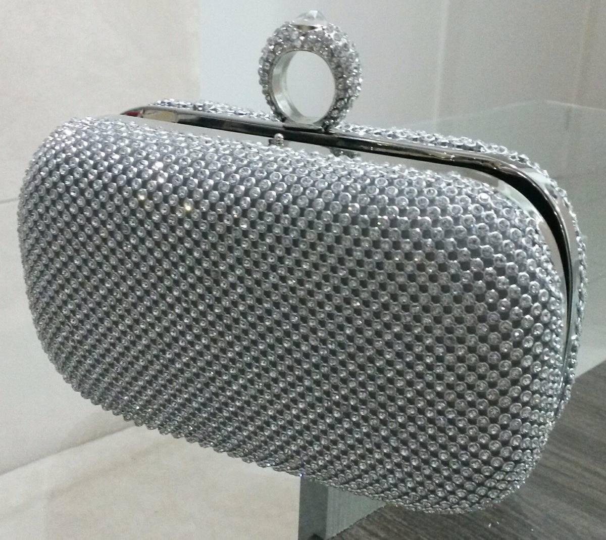 Bolsa De Festa Sp : Bolsa clutch prata strass festa casamento carteira