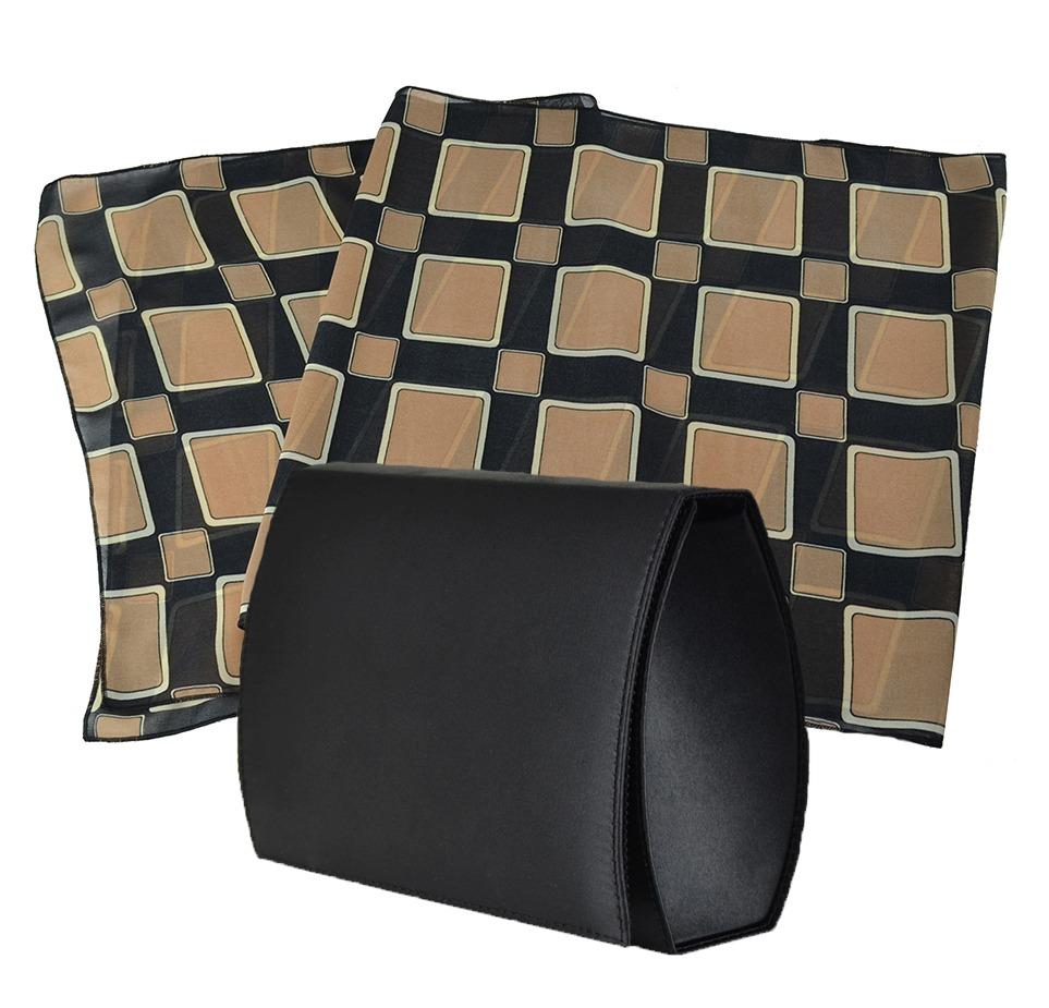 Bolsa Clutch Preta E Echarpe Xadrez - R  90 1082c3a0fbe
