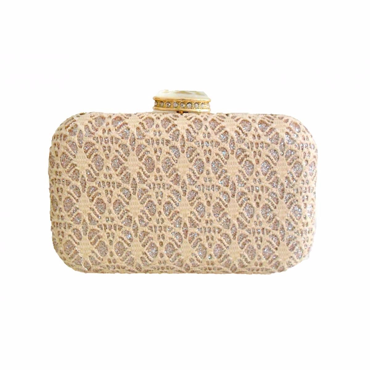 b0dbd09a1 Bolsa Clutch Renda Dourada - R$ 49,90 em Mercado Livre