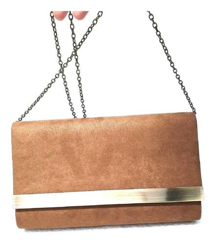 bolsa clutch social camurça brilhante com alça corrente
