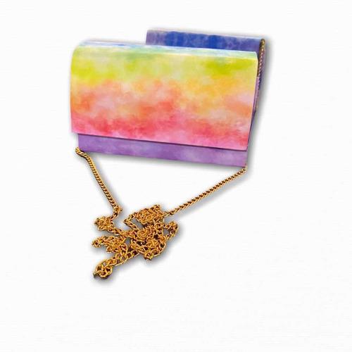 bolsa clutch tie dye festa de mão alça corrente blogueira