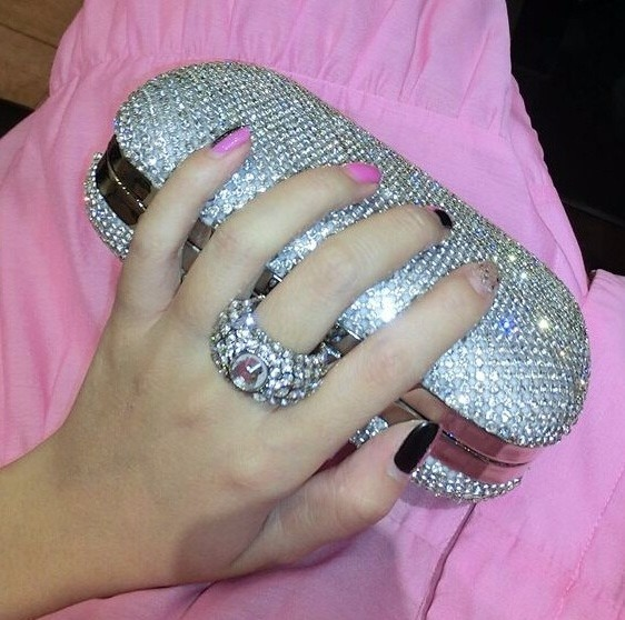 2c0a0beeb Bolsa Cluth Festa Prata Strass Crystal Carteira Estilo Luxo - R$ 298 ...