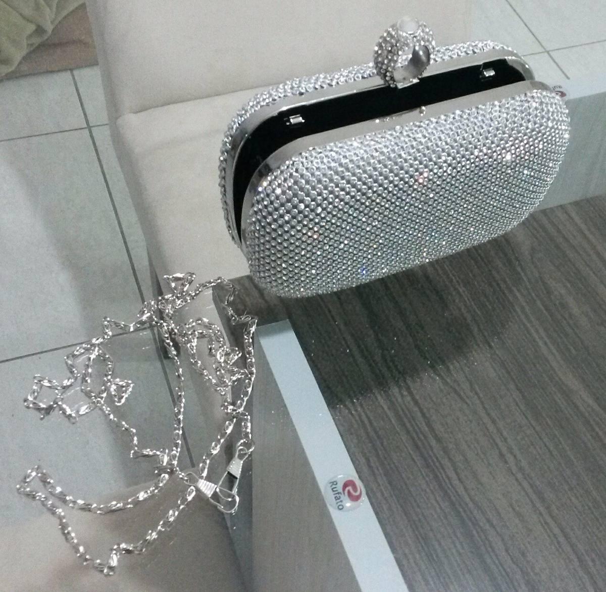 0ad79c321 bolsa cluth prata strass festa casamento carteira importada. Carregando  zoom.