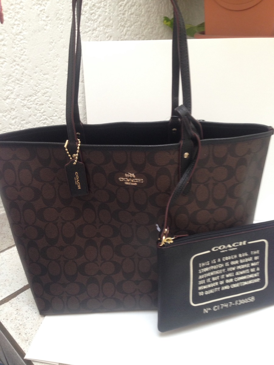 8fa2ef3cf Bolsa Coach 100% Original Chocolate Doble Vista Negra Piel ...