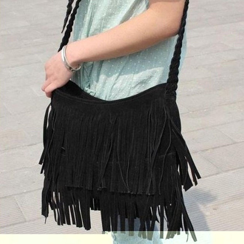 bolsa com franja de couro ecológico camurça