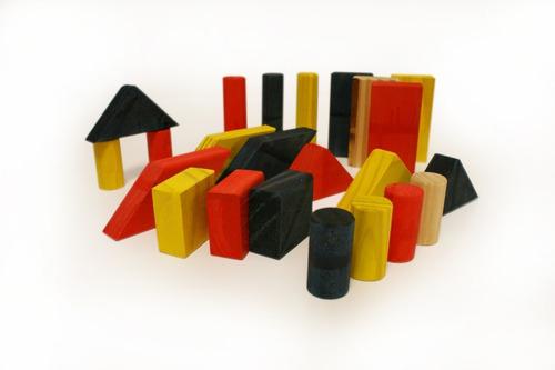 bolsa con bloques de madera x 48piezas cuerpos didácticos