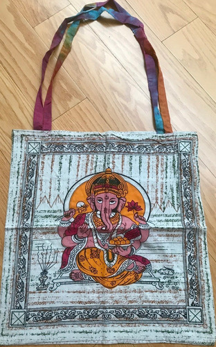 bolsa con diseño de ganesha de algodón rústico