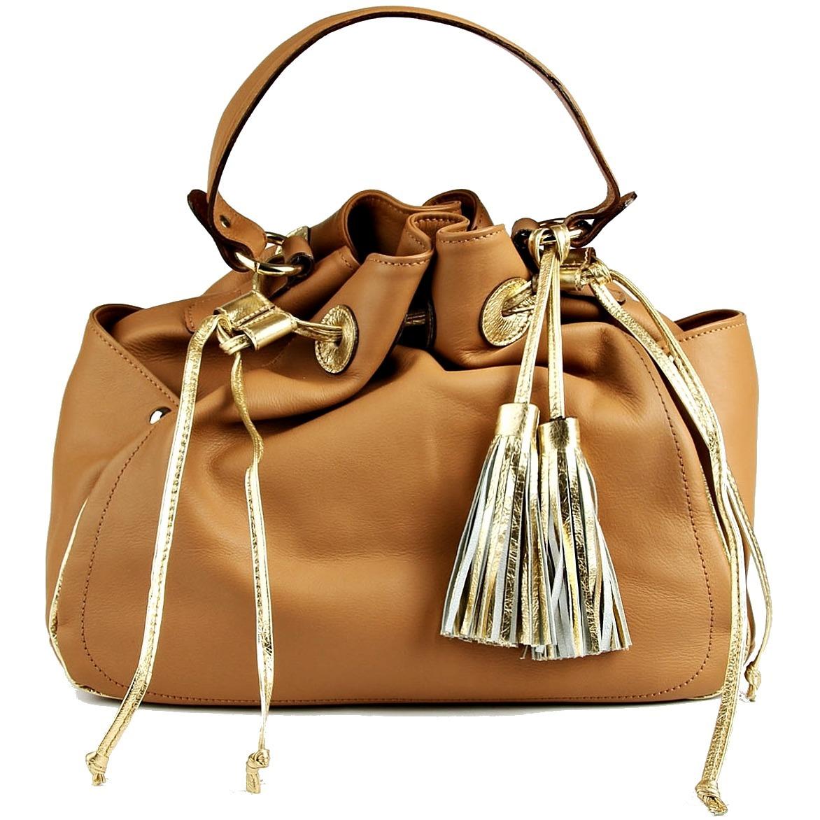 b6cec4b04 bolsa couro legítimo caramelo dourada shoestock origina saco. Carregando  zoom.