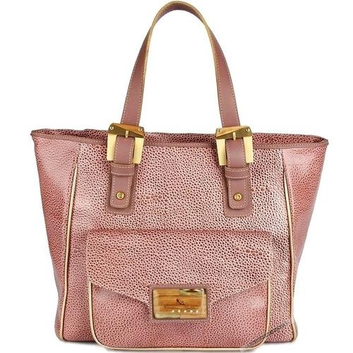 bolsa couro legítimo carolina martori rosê dourada rosa ouro