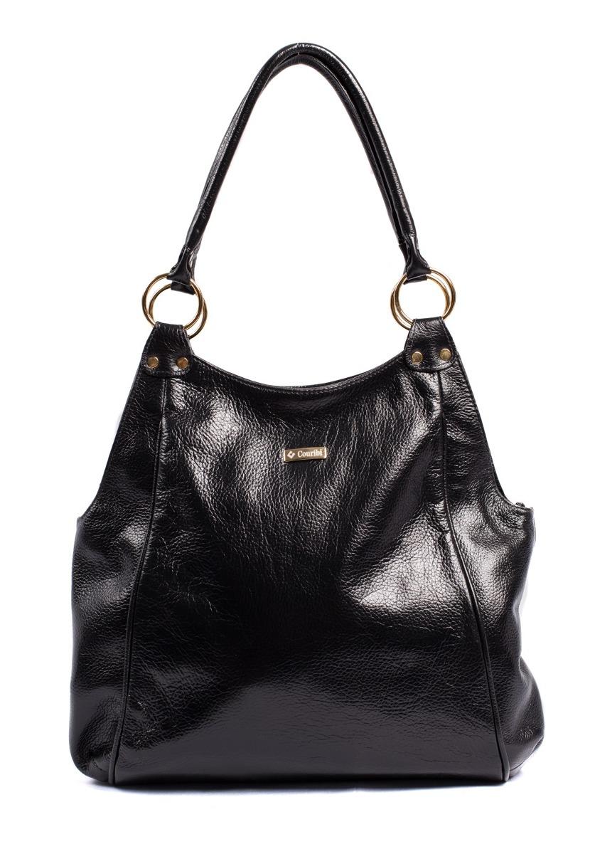 a37efb9be bolsa couro legítimo feminina couribi espaçosa grande preta. Carregando  zoom.