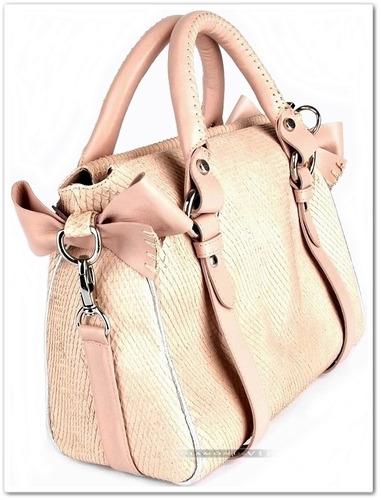 bolsa couro legítimo nude carolina martori rosa laço cobra