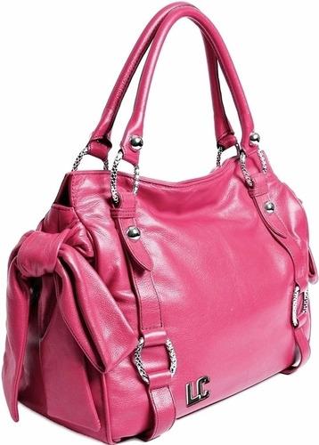 bolsa couro legítimo pink grife lenny e cia rosa laço nova