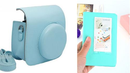 bolsa couro sin câmera instax mini azul albúm 64 fotos verde