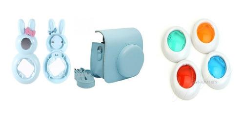bolsa couro sintético + lente instax mini azul+ 4 lentes