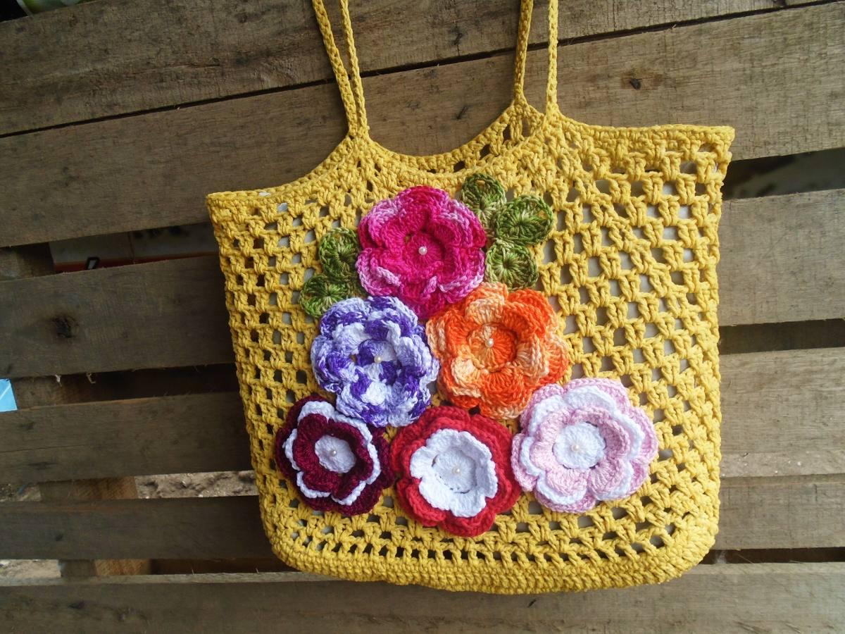Bolsa De Croche Para Casamento : Bolsa croch? praia com flores r em mercado livre