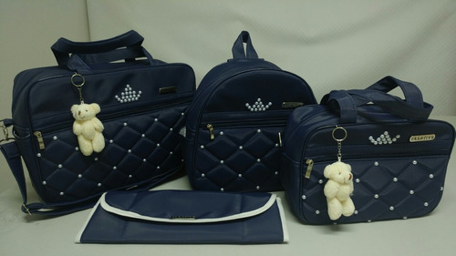 bolsa de bebê com mochila com pérolas