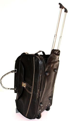 bolsa de couro de viagem com rodinha, kit mala viagem grande