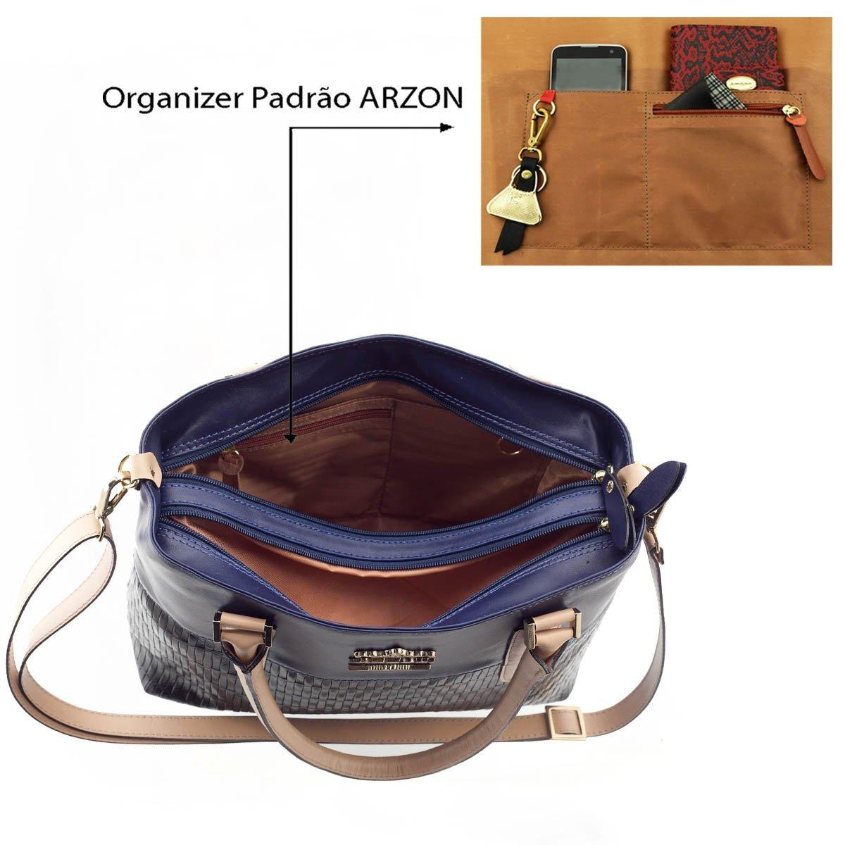 2e7188dbd9658 Bolsa De Couro Legítimo Arzon Preto Com Azul Marinho - R$ 517,35 em ...