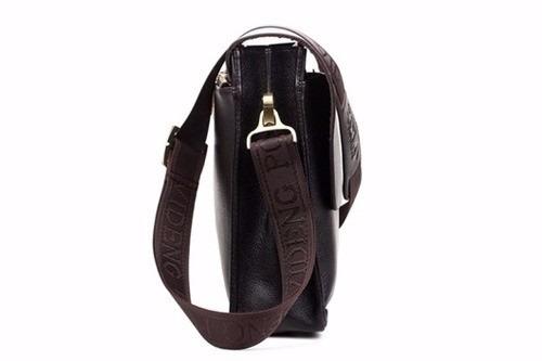 bolsa de couro masculino vertical polo