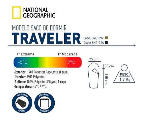 bolsa de dormir national geographic traveller sintetica -5°c