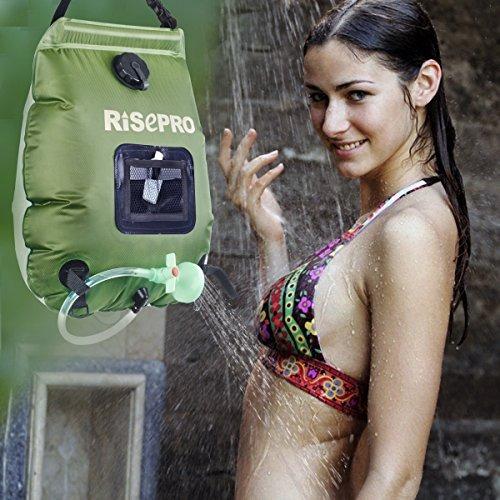 bolsa de ducha solar, risepro 5 galones /20 litros de