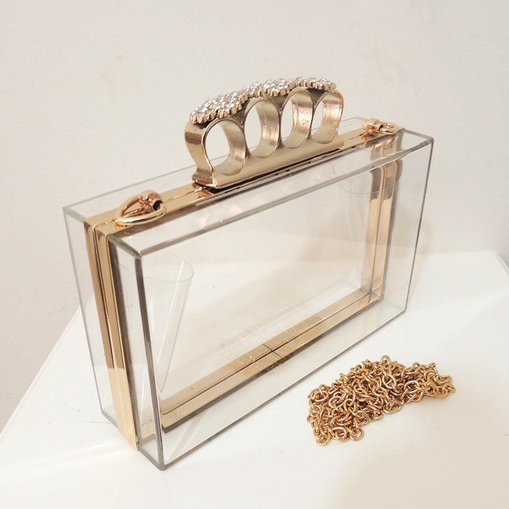 Bolsa De Mao Dourada Para Festa : Bolsa de festa clutch dourada acrilico transparente c