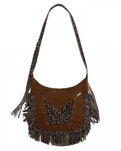 bolsa de franja artesanal em couro animal