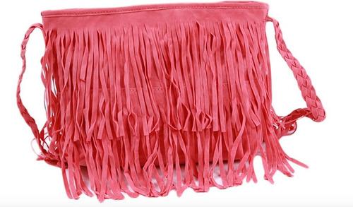 bolsa de franja em couro camurça - pronta entrega