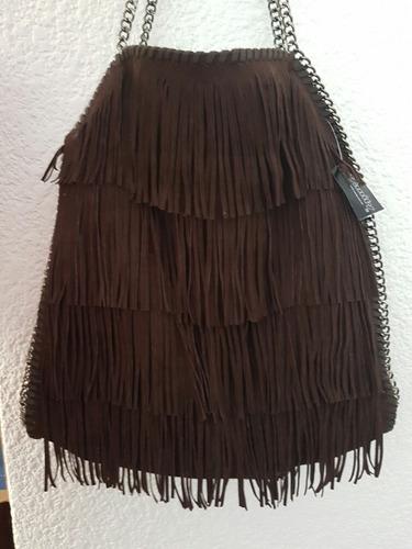 bolsa de gamuza café de 45cm de largo x 40com de ancho