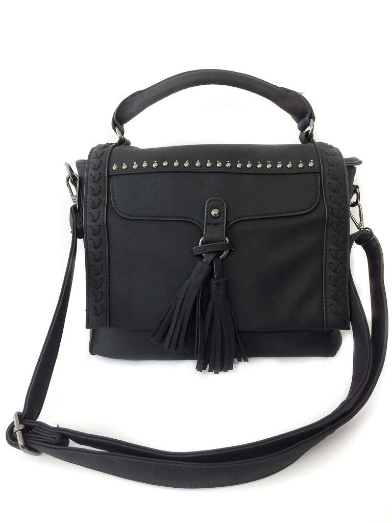 9a141114cd785 bolsa de lado preta feminina couro sintético pedrinhas. Carregando zoom.