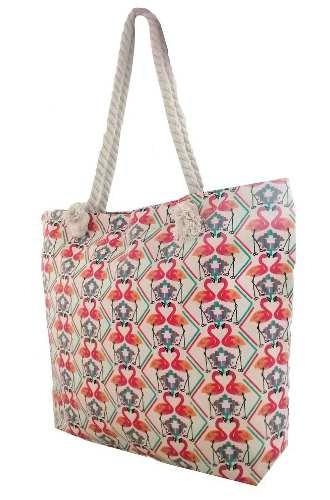 bolsa de lona alça de corda estampada sacola praia