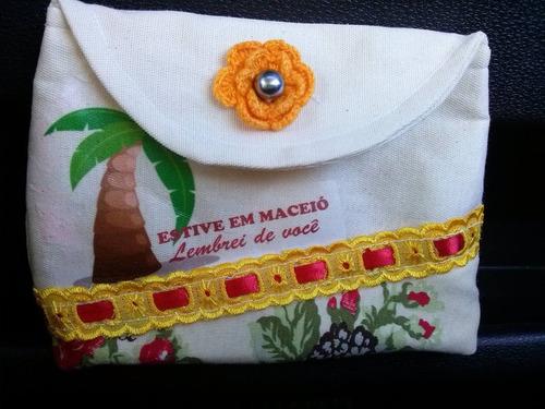 bolsa de mão em algodão cru feita a mão