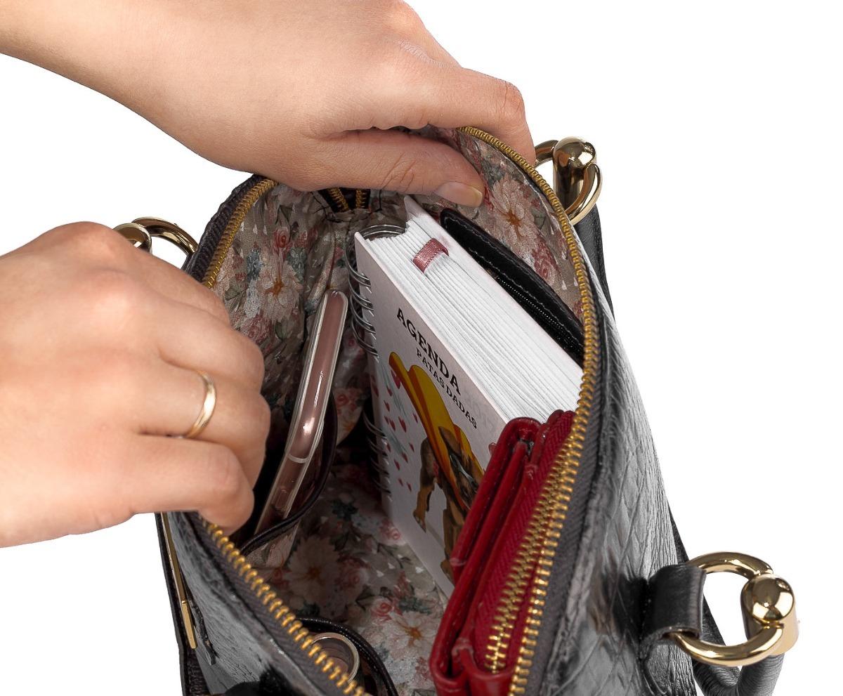 54822fcaa2bfb Bolsa De Mão Em Couro Legítimo Donna Preta - R$ 389,00 em Mercado Livre