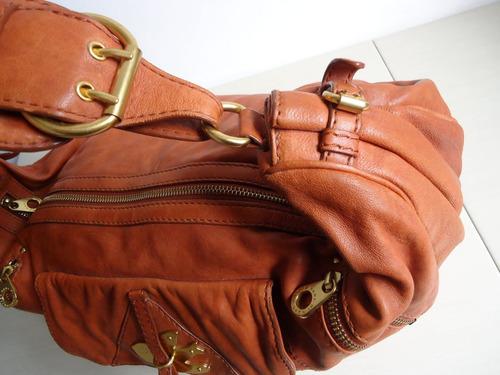 bolsa de ombro em couro natural marc by marc jacobs marrom!!