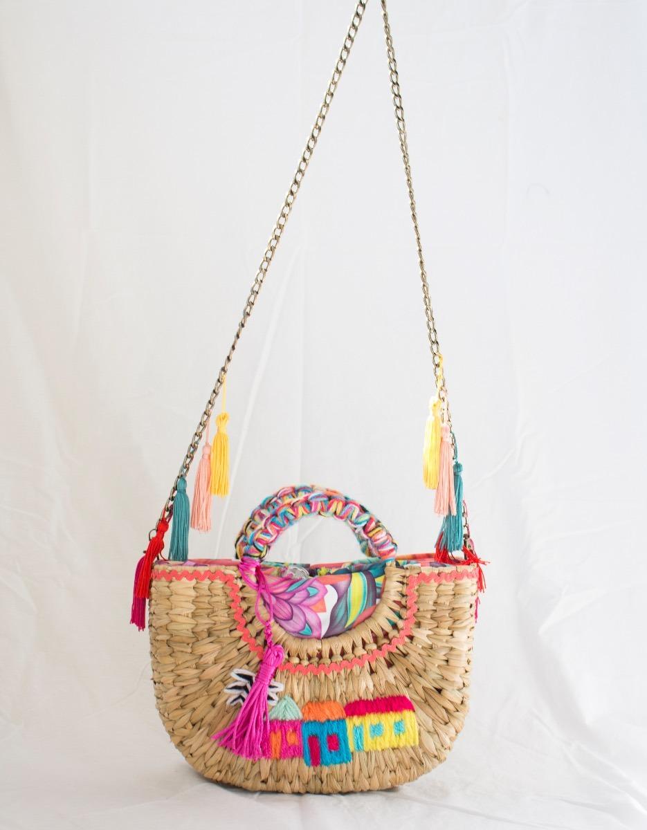 247145906 bolsa de palha praia bordada com alça corrente - beachbag. Carregando zoom.