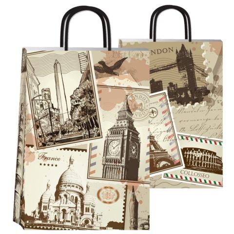 bolsa de papel de regalo diseño ciudades viaje 30x12x41 cm