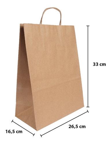 bolsa de papel kraft 26,5 + 16,5 x 33 paq x 50