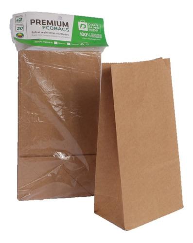 bolsa de papel kraft marrón #4 paquete x20