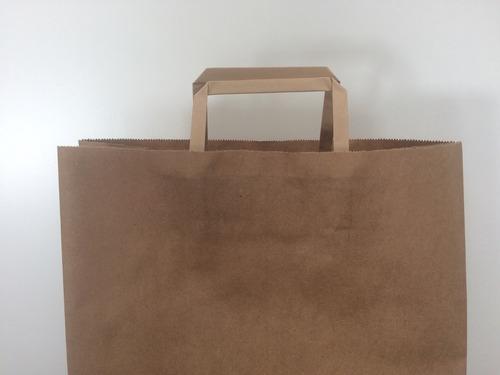 bolsa de papel lisa color marrón grande 34x17x48 cm