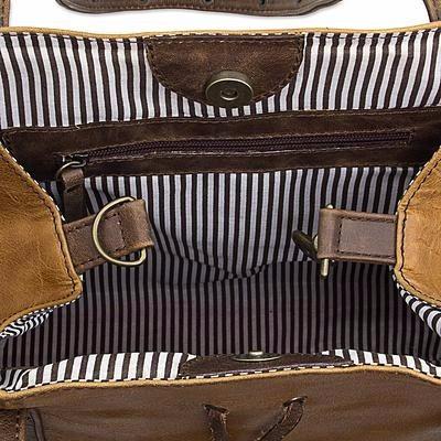 bolsa de piel marca vanguardia color miel con café