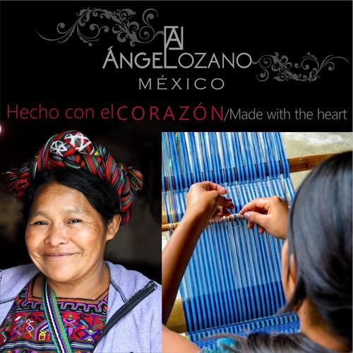 bolsa de piel n bordado artesanal maya angelozano env gratis