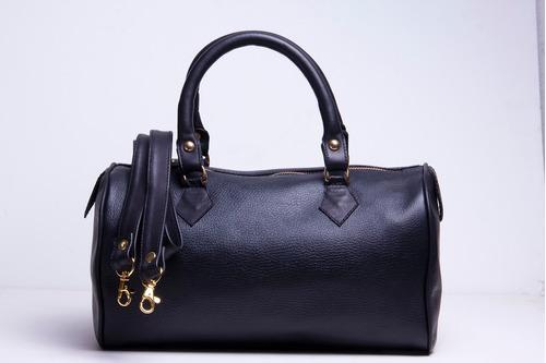 bolsa de piel para dama tipo maletín color negra