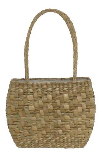 bolsa de praia de taboa trançada 31x08x24 com forro e zíper